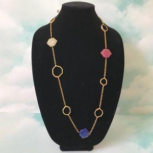 Isharya Geometric Multicolor Stone Chain Necklace